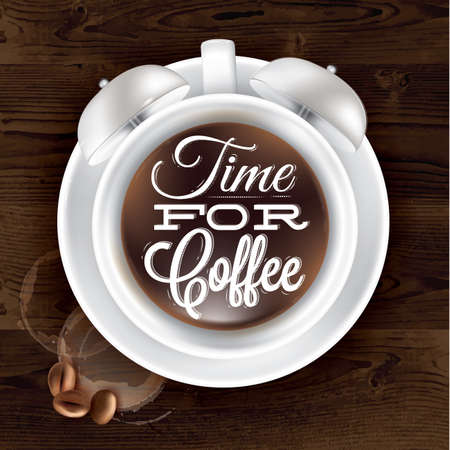 Poster cup kofem alarm clock in dark wood color shown with a cup lettering Time for coffee. Vector Vector