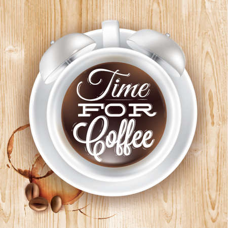Poster cup kofem alarm clock in loft wood color shown with a cup lettering Time for coffee. Vector Vector