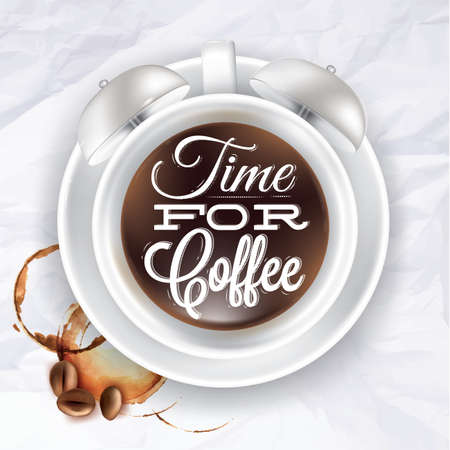 Poster cup kofem alarm clock incrumpled paper color shown with a cup lettering Time for coffee. Vector photo