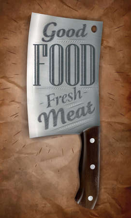 slaughter: Poster knife for cutting meat in a retro style lettering with good food fresh meat on the background of brown crumpled paper. Vector Illustration