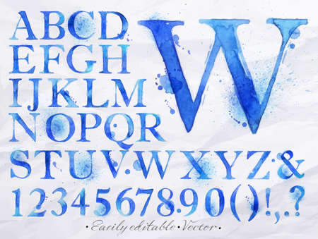 Alphabet set drawn watercolor blots and stains with a spray blue color  Easily editable  Vector