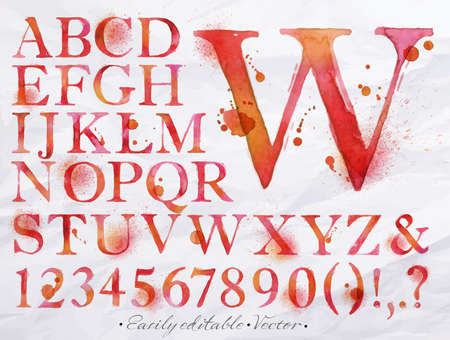 Alphabet set drawn watercolor blots and stains with a spray red color  Easily editable  Vector