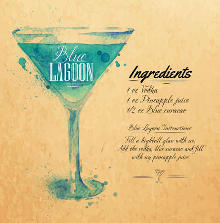 lagoon: Blue Lagoon cocktails drawn watercolor blots and stains with a spray, including recipes and ingredients on the background of kraft
