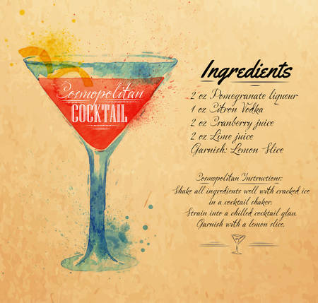 Cosmopolitan cocktails drawn watercolor blots and stains with a spray, including recipes and ingredients on the background of kraft Vector