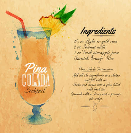Pina colada cocktails drawn watercolor blots and stains with a spray, including recipes and ingredients on the background of kraft
