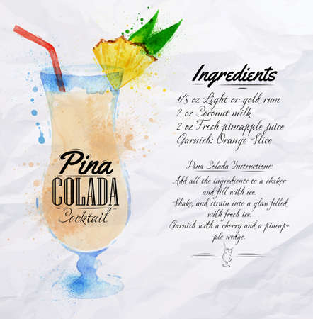 colada: Pina colada cocktails drawn watercolor blots and stains with a spray, including recipes and ingredients on the background of crumpled paper