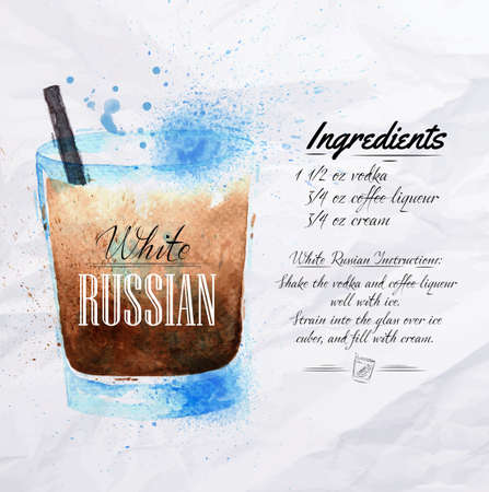 russian food: White  Russian cocktails drawn watercolor blots and stains with a spray, including recipes and ingredients on the background of crumpled paper