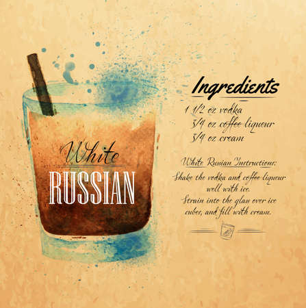 White  Russian cocktails drawn watercolor blots and stains with a spray, including recipes and ingredients on the background of kraft Vector
