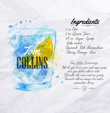 Tom Collins cocktails drawn watercolor blots and stains with a spray, including recipes and ingredients on the background of crumpled paper Vector