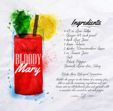 cocktail drinks: Bloody mary cocktails drawn watercolor blots and stains with a spray, including recipes and ingredients on the background of crumpled paper