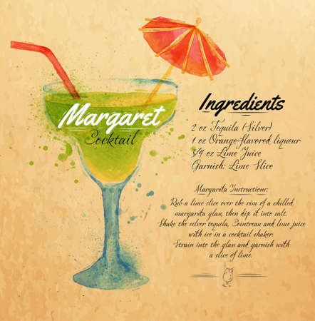 Margaret cocktails drawn watercolor blots and stains with a spray, including recipes and ingredients on the background of kraft