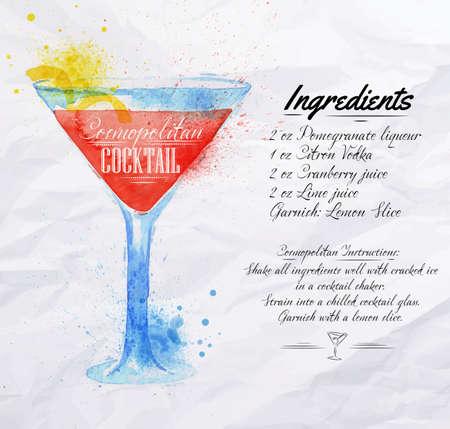 clous de girofle: Cocktails Cosmopolitan tir�es taches d'aquarelle et les taches avec un spray, y compris les recettes et les ingr�dients sur le fond de papier froiss�