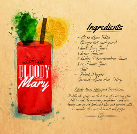 Bloody mary cocktails drawn watercolor blots and stains with a spray, including recipes and ingredients on the background of kraft Vector