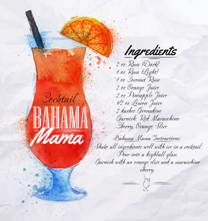 bahama: Bahama mama cocktails drawn watercolor blots and stains with a spray, including recipes and ingredients on the background of crumpled paper