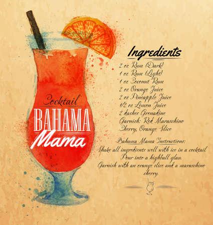 Bahama mamma cocktails getrokken waterverfvlekken en vlekken met een spray, inclusief recepten en ingrediënten op de achtergrond van kraft Stock Illustratie