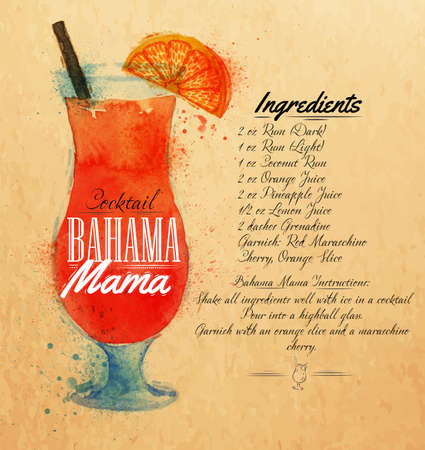 Bahama mama cocktails drawn watercolor blots and stains with a spray, including recipes and ingredients on the background of kraft