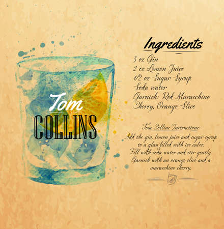 collins: Tom Collins cocktails drawn watercolor blots and stains with a spray, including recipes and ingredients on the background of kraft