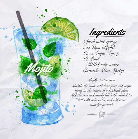 mojito: Mojito cocktails drawn watercolor blots and stains with a spray, including recipes and ingredients on the background of crumpled paper
