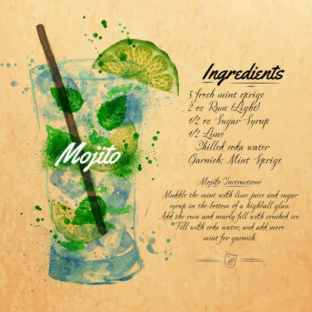 cocktail party: Mojito cocktails drawn watercolor blots and stains with a spray, including recipes and ingredients on the background of kraft Illustration