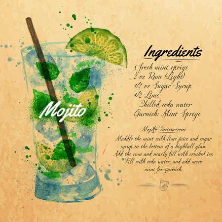 Mojito cocktails elaborados borrões de aquarela e manchas com um spray, incluindo receitas e ingredientes no fundo de kraft Ilustração