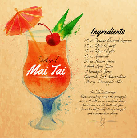 Mai Tai cocktails drawn watercolor blots and stains with a spray, including recipes and ingredients on the background of kraft Illustration