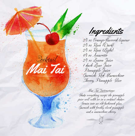 Mai Tai cocktails drawn watercolor blots and stains with a spray, including recipes and ingredients on the background of crumpled paper