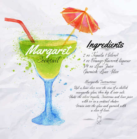 Margaret cocktails drawn watercolor blots and stains with a spray, including recipes and ingredients on the background of crumpled paper Иллюстрация