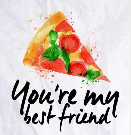 피자 수채화 당신은 내 가장 친한 친구 야. 일러스트