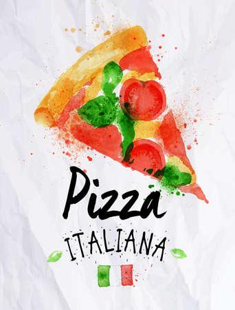 Pizza watercolor pizza italiana Vector