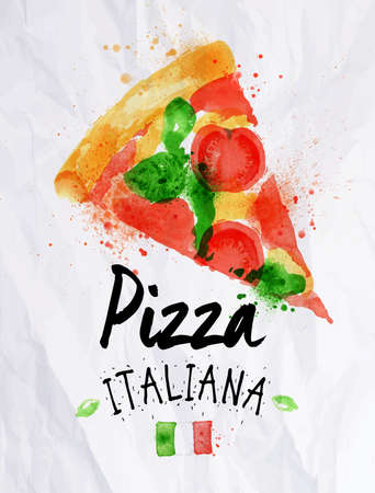 italian pizza: Pizza watercolor pizza italiana