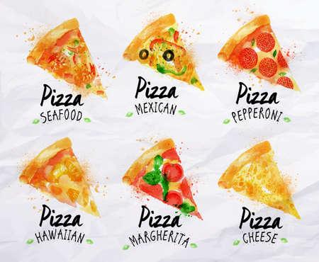 hawaiana: Pizza conjunto acuarela