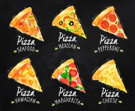 Pizza set giz Ilustração