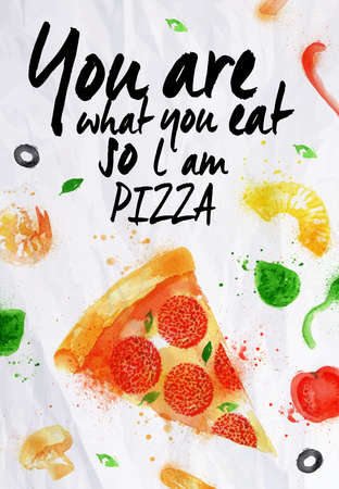 italian pizza: Pizza watercolor You are what you eat so l am pizza Illustration