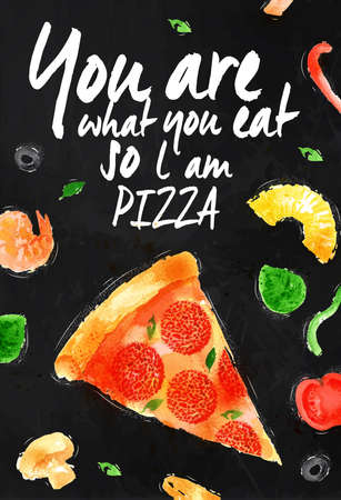 Pizza chalk poster hand drawn with stains and smudges You are what you eat so l am pizza Vector