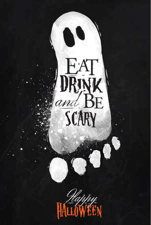 scary: Ghosts halloween poster chalk Illustration