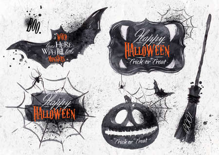 spider cartoon: Halloween set symbols with lettering in vintage style