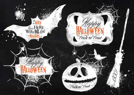 spider cartoon: Halloween set symbols lettering in chalk