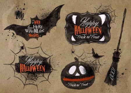 spider cartoon: Halloween set symbols lettering kraft