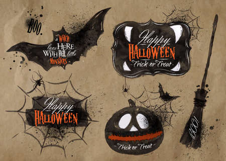 Halloween set symbols lettering kraft