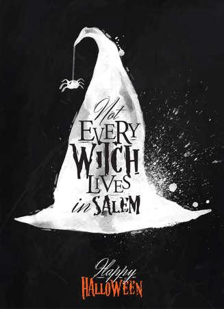 Hexenhut Halloween-Plakat Kreide