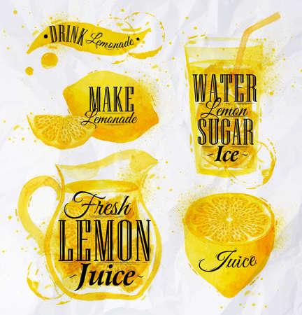citricos: Lemonade acuarela Vectores