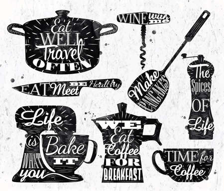 casserole: Kitchen symbol vintage lettering restaurant Illustration