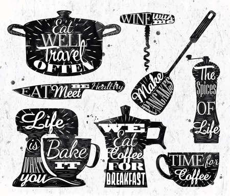 cook: Kitchen symbol vintage lettering restaurant Illustration