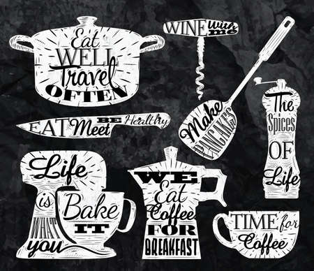 Kitchen symbol vintage lettering with chalk restaurant Çizim