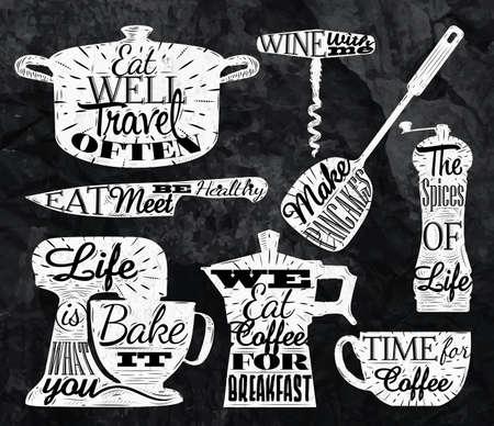 kitchen utensils: Letras s�mbolo de la cocina de la vendimia con restaurante tiza