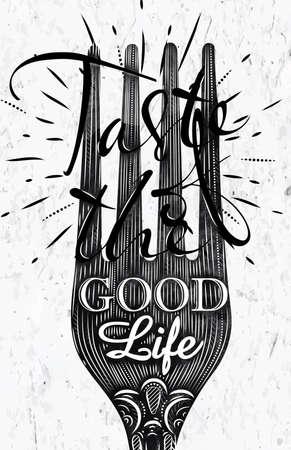 Poster vintage fork Stock Illustratie