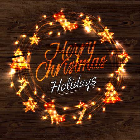 Christmas wreath garland poster Illustration