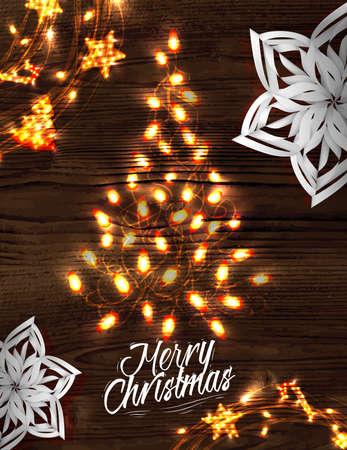Christmas tree garland poster Vector