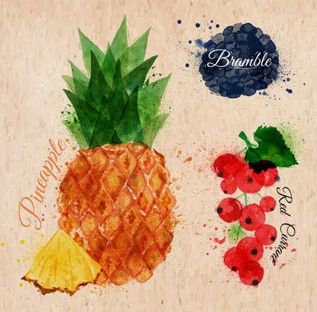 レッドカラント: フルーツ水彩パイナップル、キイチゴ、レッドカラント クラフト