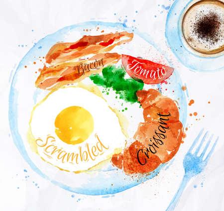bacon and eggs: Breakfast watercolors bacon eggs